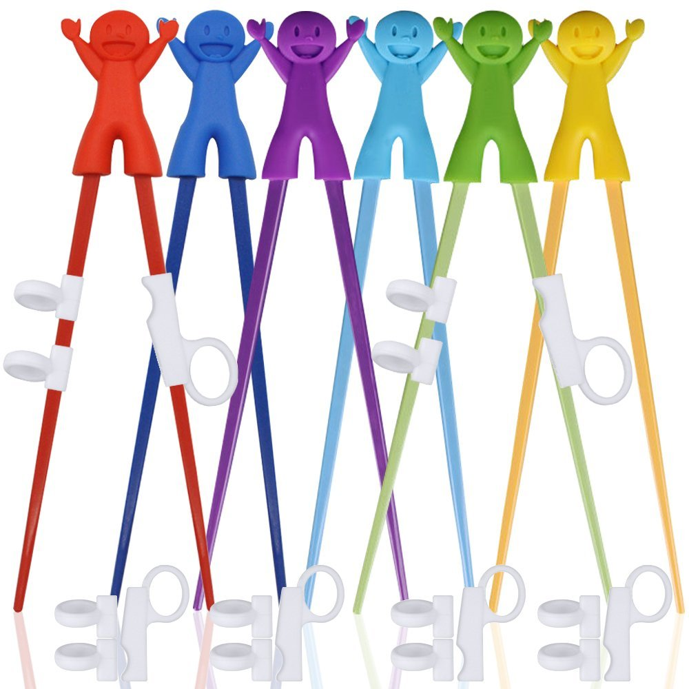SourceTon 6 Pairs of Easy-to-Use Training Chopsticks with Helpers, Training Chopstick for Right or Left-Handed Kids Teens Adults Beginners.- Smile