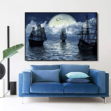 Art Wall Home Decor Artwork Pirates Ship Boat Oil painting HD Printed on canvas