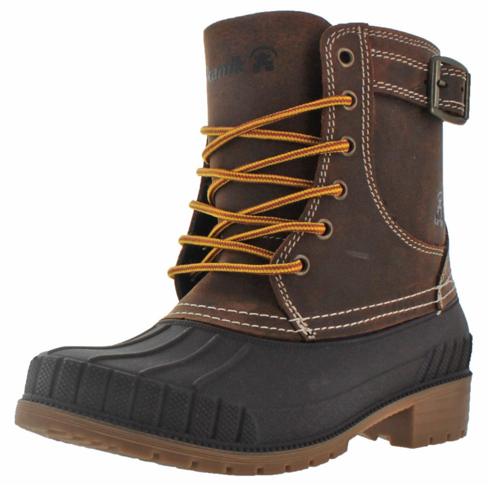 Kamik Evelyn Women's Waterproof Duck Boots Leather Snow B0198WSGLU 9 B(M) US|Dark Brown
