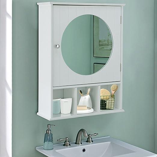 Bathroom Cabinet Mirror Door Wall Mount Storage Wood Shelf White Finish