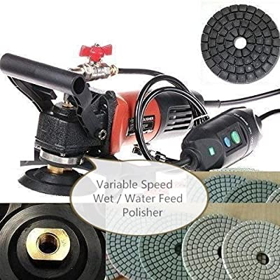 "Wet Polisher Variable Speed 1000 Watt (2 handle 3 Extra Carbon Brush) 5"" Diamond Polishing pad 12+1 for granite marble glass concrete Tuff Buff natural stone polishing cut grinding re-condition"