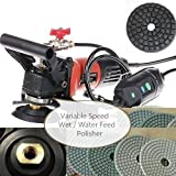 Wet Polisher Variable Speed 1000 Watt (2 handle 3 Extra Carbon Brush) 5'' Diamond Polishing pad 12+1 for granite marble glass concrete Tuff Buff natural stone polishing cut grinding re-condition