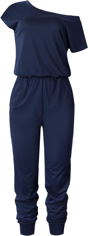 Gyozelem Women Casual Loose Short Sleeve Belted Wide Leg Pant Romper Jumpsuits