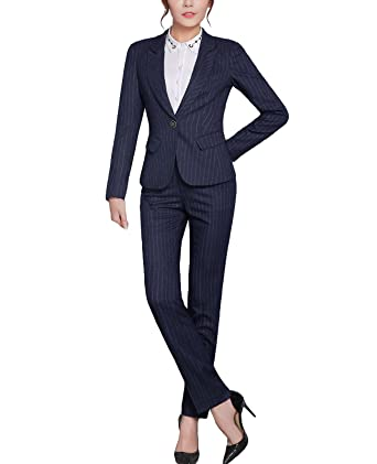 MFrannie Women Business Office OL Stripe Work Blazer Jacket and Pants Suit  Set Navy Blue 2packs c34b98b359