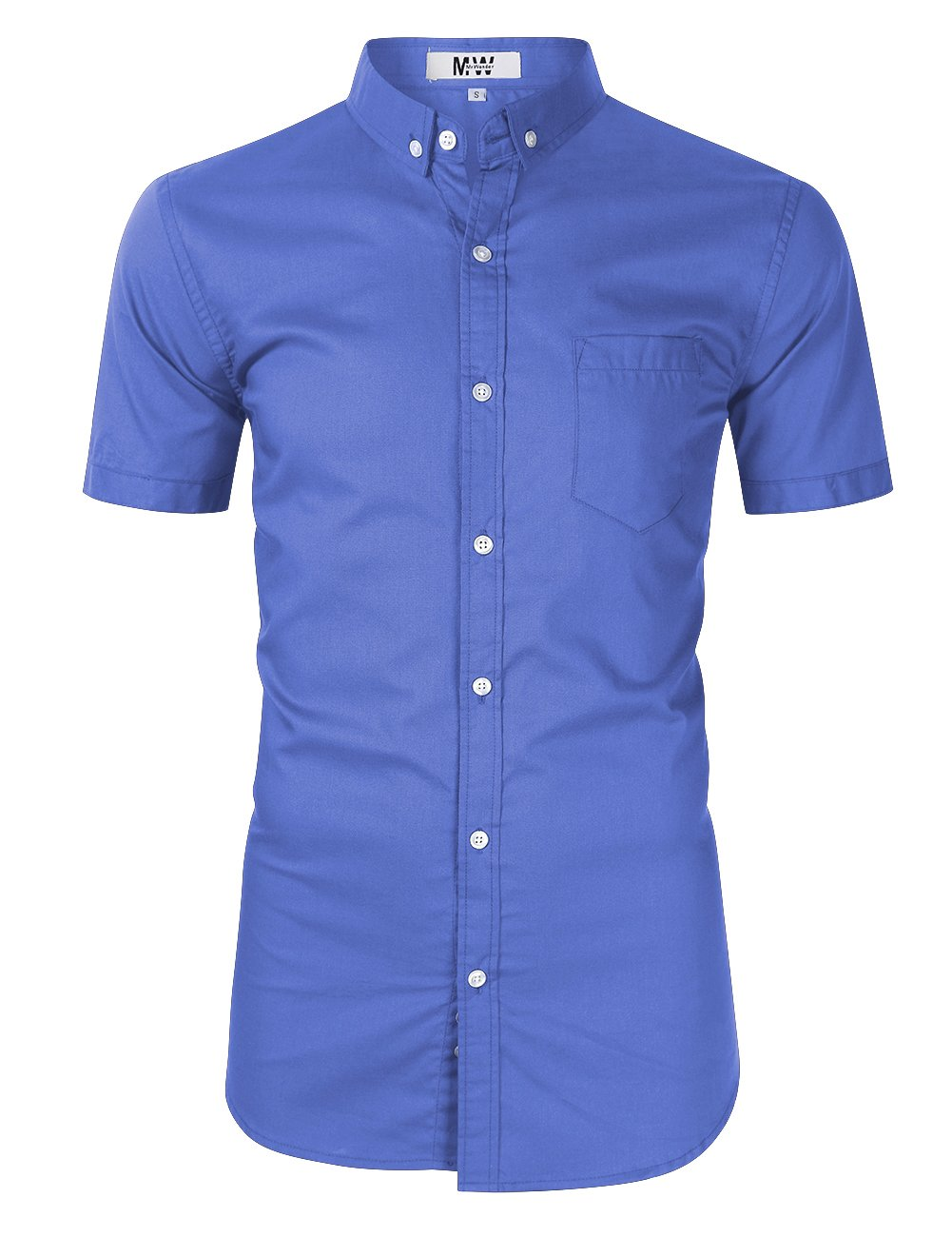 MrWonder Men's Casual Slim Fit Button Down Dress Shirt Long Sleeve Solid Oxford Shirt (M, Short Sleeve Blue)
