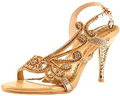 Amazon.com | Littleboutique Crystal Studs Sandal Heels Summer ...