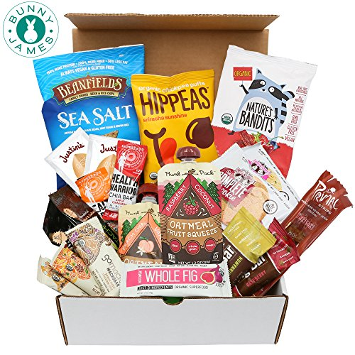 Healthy Vegan Snacks Care Package: Natural, Organic, Non-GMO, Vegan Protein Bars, Cookies, Fruit Snacks, Vegan Jerky, Nuts, Premium Vegan Assortment Gift Box