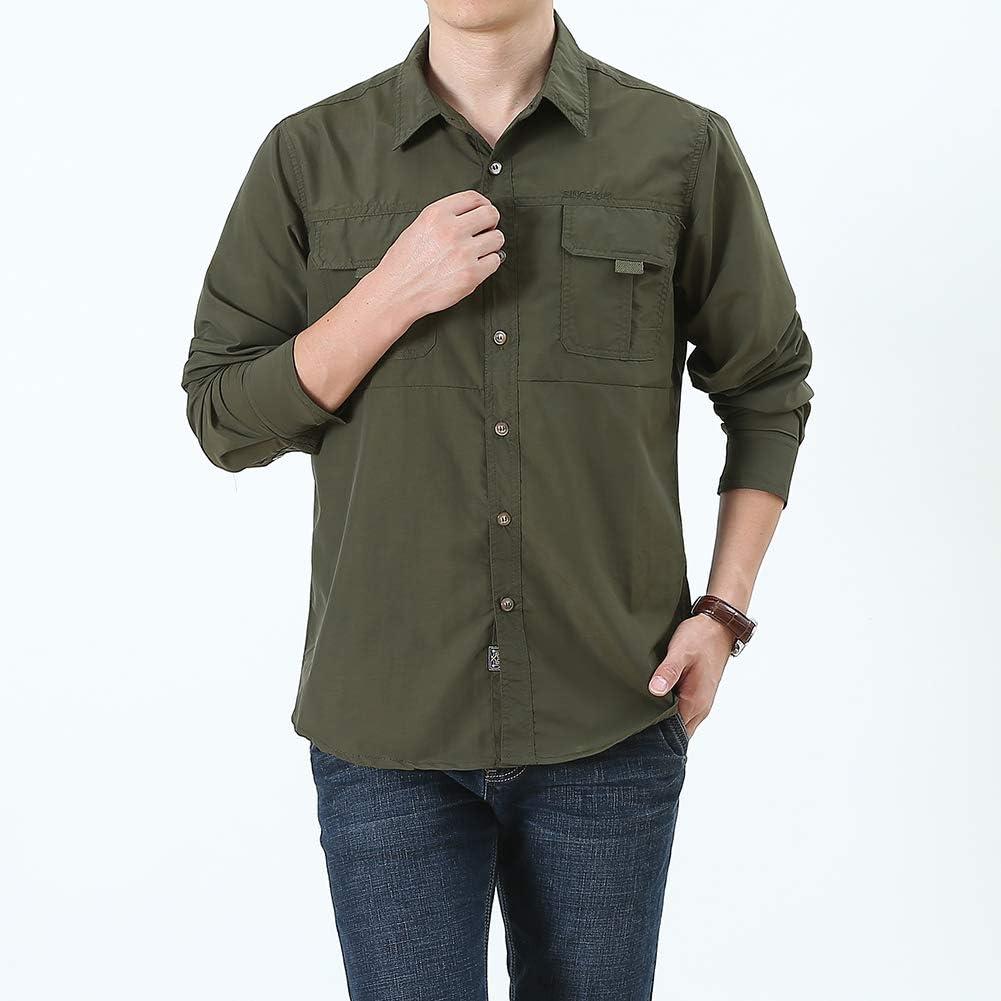 acelyn Safari Cargo - Camiseta de manga larga para hombre, secado rápido, color caqui, verde y gris S-2XL: Amazon.es: Ropa y accesorios