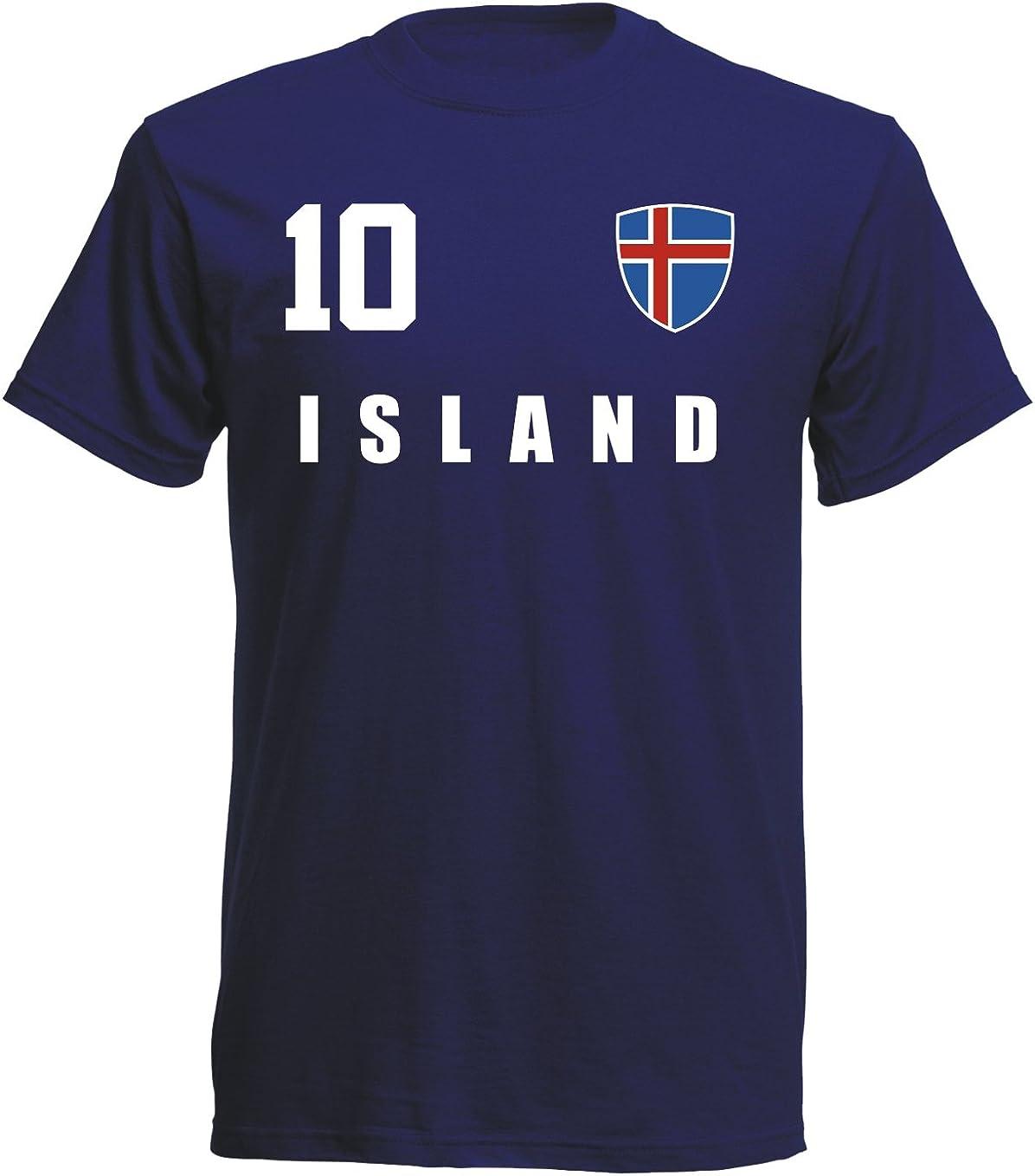 Navy ALL-10 WM EM aprom Island T-Shirt Fu/ßball Trikot Sport