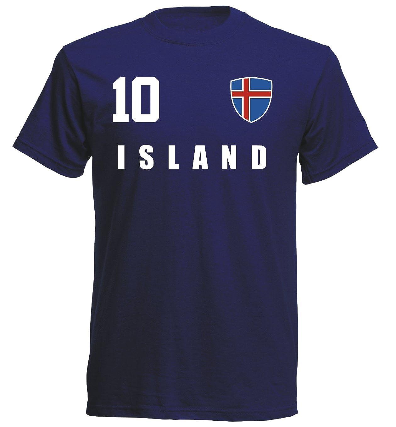 Island WM 2018 T-Shirt Navy Trikot Fußball Nr ALL 10 Sport