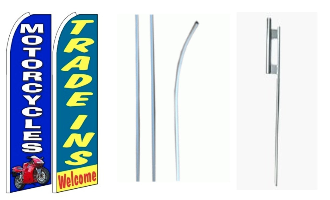 Motorcycles Trade Ins Welcome King Swooper Flag w//Kit Pack of 2