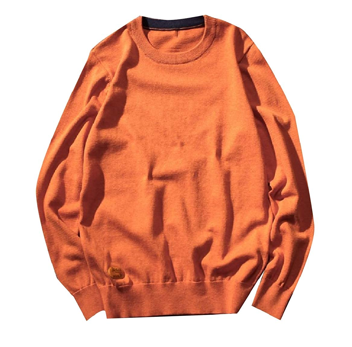 YUNY Mens Regular Relaxed Fit Relaxed-Fit Soft Knit Autumn Sweaters Orange XL