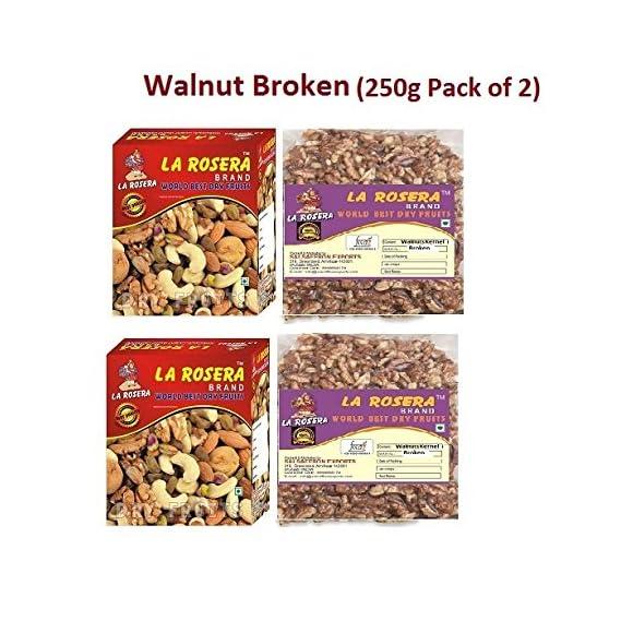 La Rosera Light Broken Walnuts (Akhrot) 500g (250gm x 2)-Without Shell.