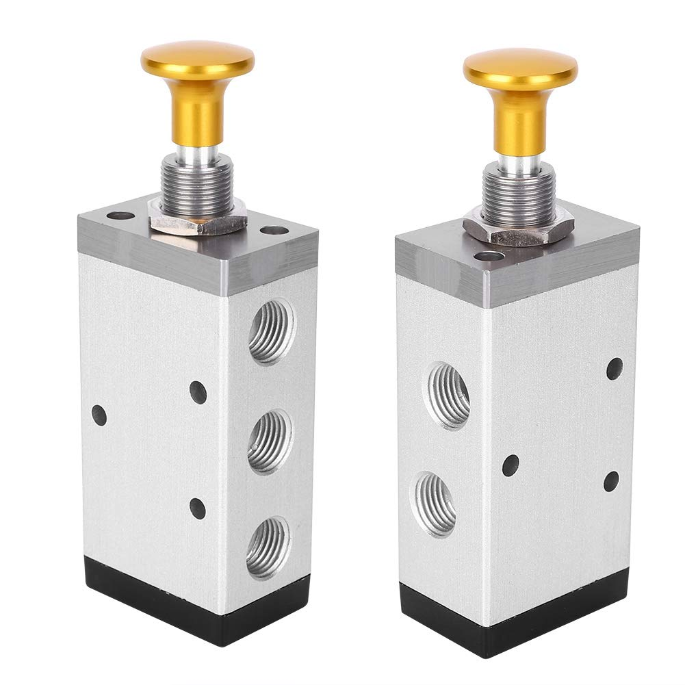 G1//4-Inch G3//8-Inch Aluminum Alloy Two-Position Five-Way Button Valve Widely Applicated in Various Pneumatic Systems Durable Long Service Life Hand Valve 4R310-10