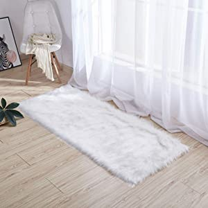 XM&LZ Modern Shag Entrance Door Mat Silky Smooth Fur Rugs Fluffy Carpet Anti-Skid Shaggy Area Rug Dining Room Home Bedroom Floor Carpet-White 60x120cm(24x47inch)