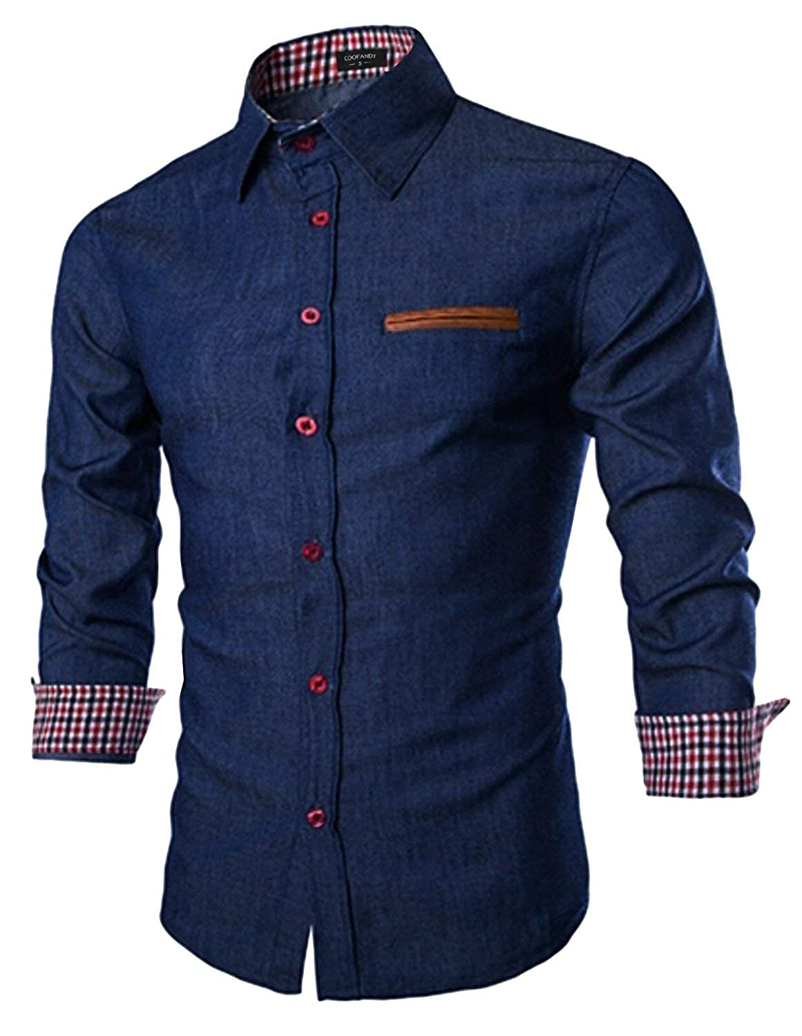 BYWX Men Long Sleeve Button Front Casual with Pockets Denim Western Shirt