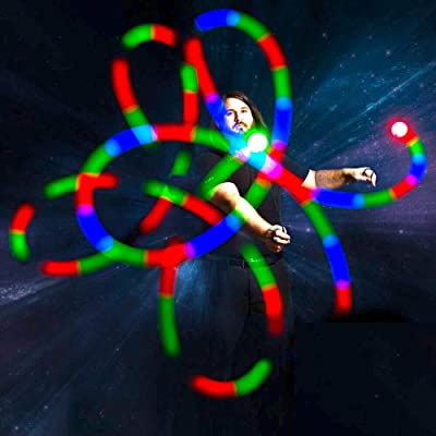 GloFX LED Poi Balls: 9 Mode Poi - Bright Flow Toy Light Painting Spin Glow Dancing Light Show Rave Prop: Toys & Games