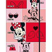 Caderno Argolado Cartonado com Elástico Minnie 80 Folhas Minnie, Multicolorido