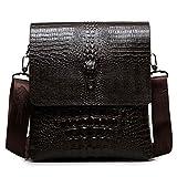 FULIER Mens Genuine Leather Casual Cross Body Shoulder Bag Business Messenger Briefcase Handbag With Crocodile Pattern (Black)