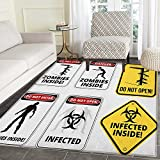 Zombie Area Silky Smooth Rugs Warning Signs for Evil Creatures Paranormal Construction Design Do Not Open Artwork Floor Mat Pattern 4'x6' Multicolor