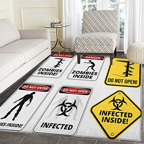 Zombie Area Silky Smooth Rugs Warning Signs for Evil Creatures Paranormal Construction Design Do Not Open Artwork Floor Mat Pattern 4'x6' Multicolor by smallbeefly