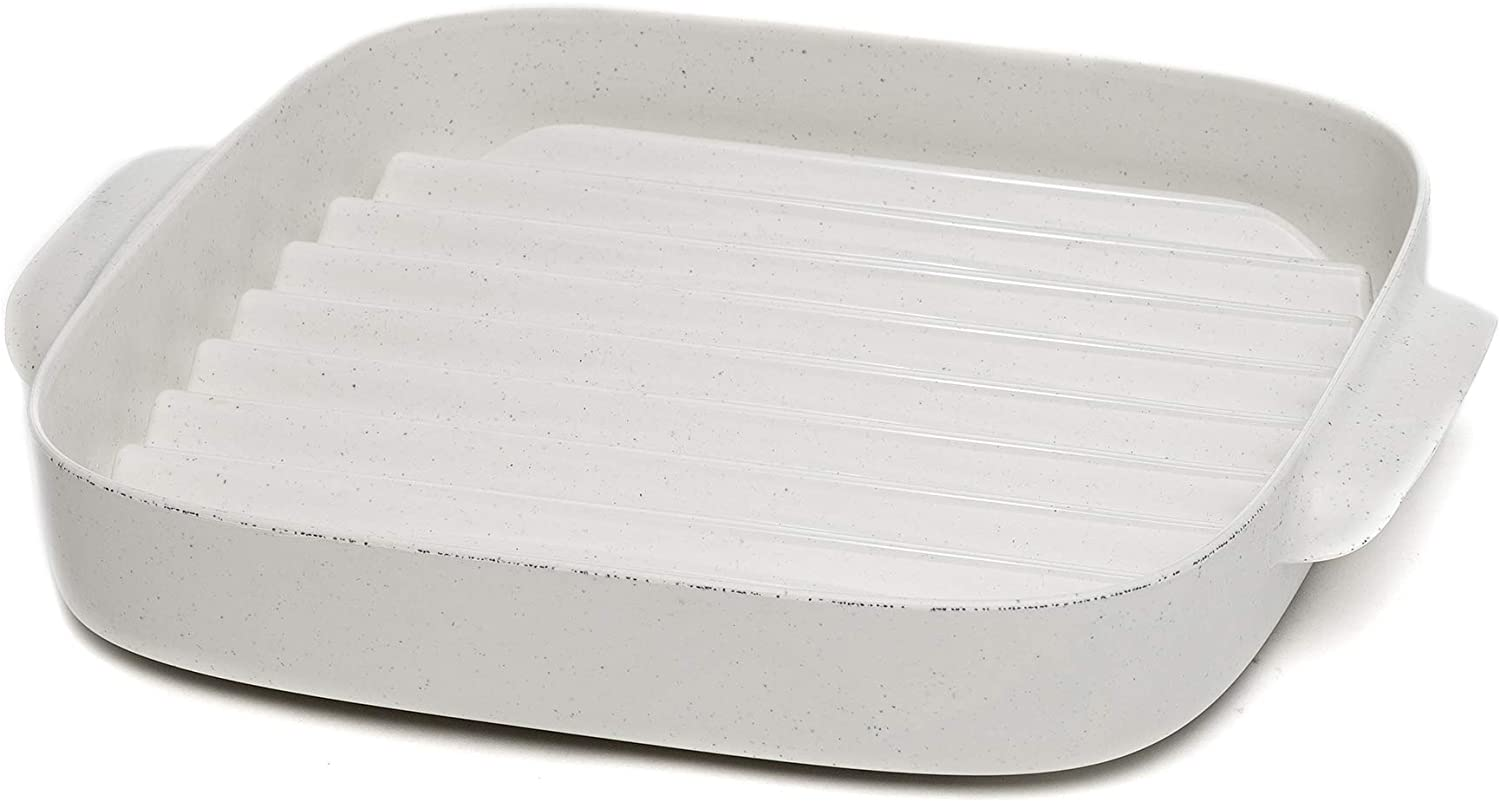 Ecolution Microwave Bacon Cooker Rack, Grill Crisper Tray, 8 Inch, Speckled White