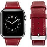 top4cus Genuine Leather iwatch Strap Replacement Band Stainless Metal Clasp, Compatible for 38mm 42mm Apple Watch Series 3 S2 S1 and Sport Edition (38mm,Girl Style - Red)