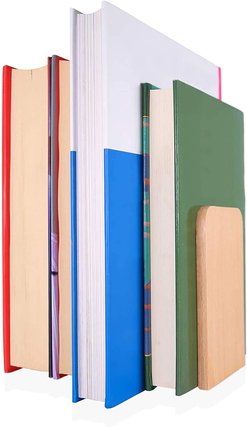 Anchy Set de 2 Sujetalibros Decorativos de Madera Natural de Haya Libros Incluye un Marcap/áginas de Silicona