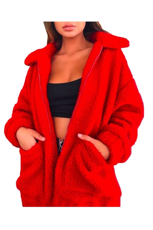 Mupoduvos Womens Jackets Tops Zipper Fleece Furry Cardigan Jacket Outercoat