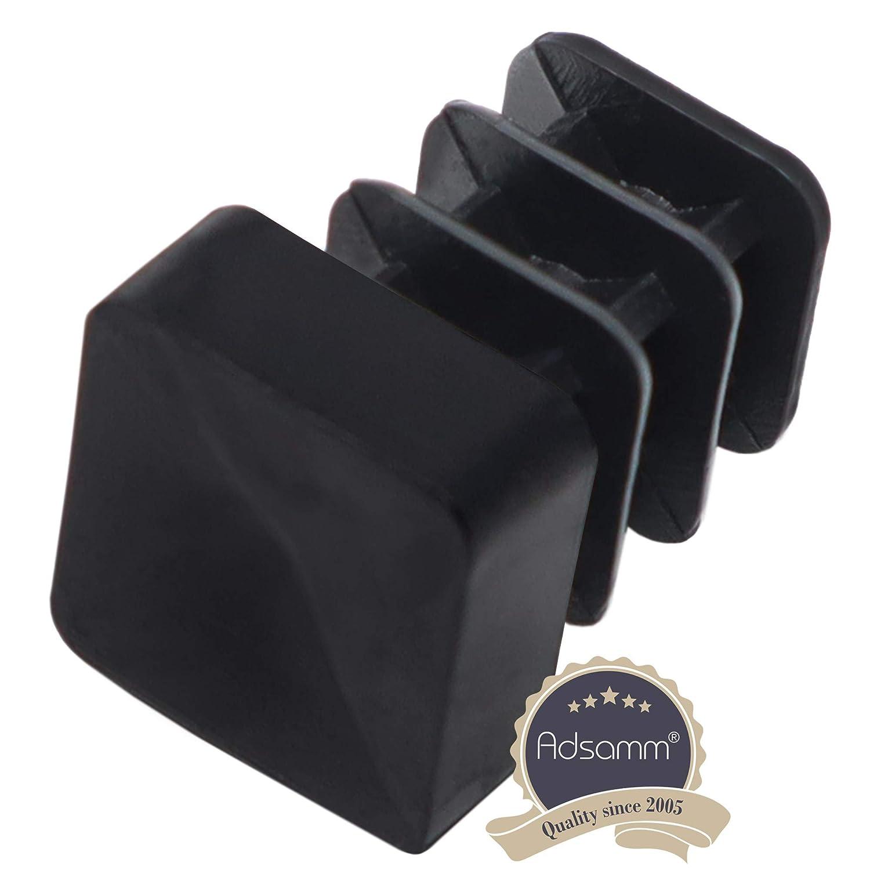 Adsamm/® Carr/é patins en plastique pour chaises tubulaires en acier de qualit/é sup/érieure 12 x 12 mm Lot de 16 lamelles Noir