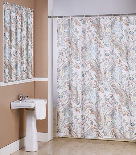 Zoey 14 Piece Bathroom Accessories Set, Canvas Shower Curtain, Hooks, Bathroom Window Curtain (Shower Curtain Window Set)