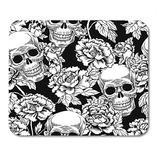 Boszina Mouse Pads Scroll Black Rose with Skull Flowers Peony Gold Tattoo Style Grunge Rock and Roll Design Dead Anatomy Mouse Pad 9.5