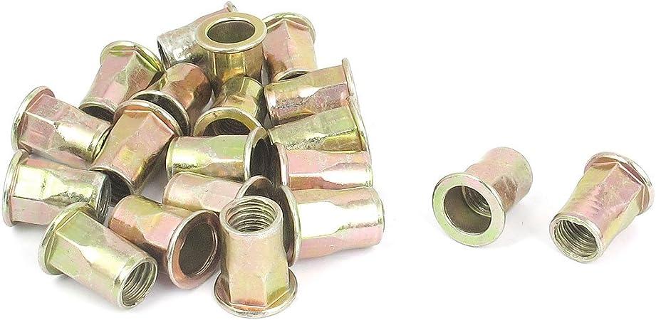 uxcell M3 Carbon Steel Rivet Nuts Flat Head Insert Nutsert Yellow Zinc Plated 100 Pcs