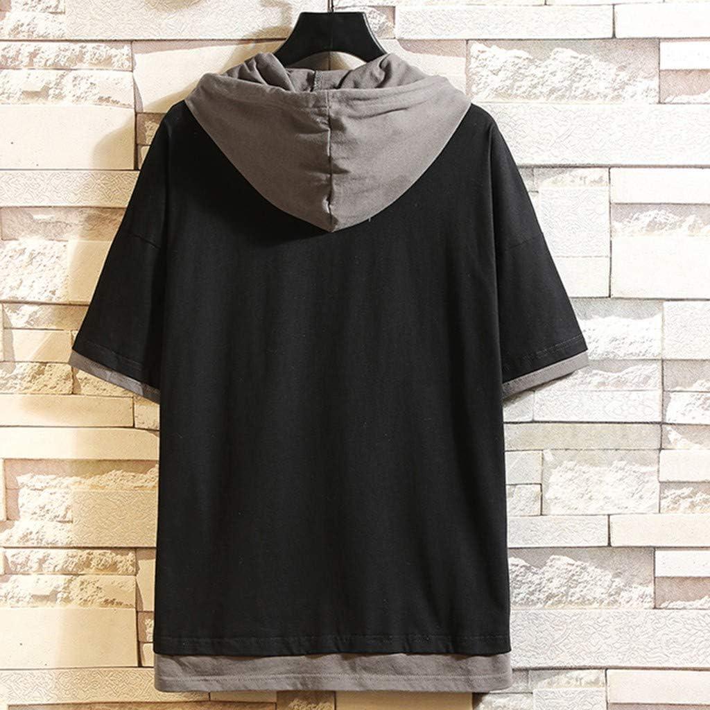 UJUNAOR T Shirt Uomo Elegante con Cappuccio Coulisse Manica Corta Fake Due Pezzi Hip Hop Moda Primavera-Estate 2019 Nuovo M//L//XL//2XL//3XL//4XL//5XL