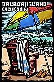 Balboa Island, California - Beach Chair - Scratchboard (12x18 Collectible Art Print, Wall Decor Travel Poster)