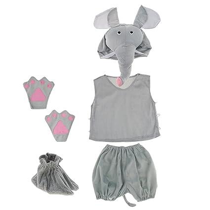 F Fityle Niños Traje Animal Conjunto Elefante Sombrero Top ...