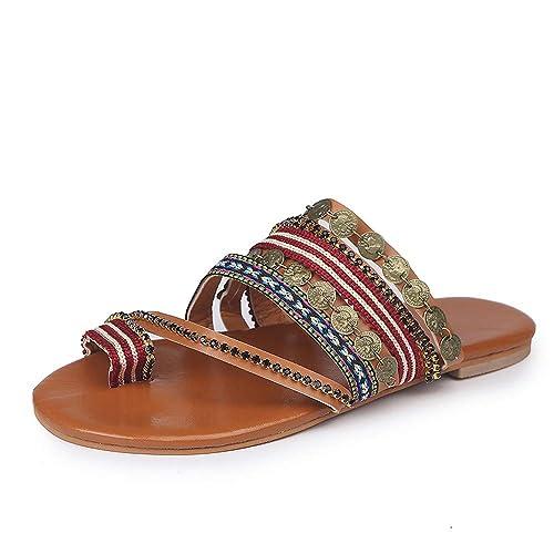 Sandalias Mujer Verano 2019 Plataforma,Modaworld Sandalias Zapatos Casual Zapatillas Sandalias Romanas con Banda Elástica De Dedo del Pie Plano Bohemio: ...