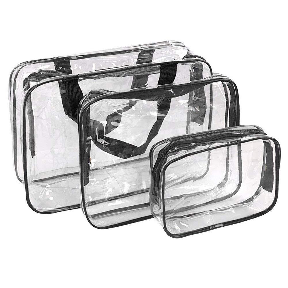 Bolsas de Aseo Transparente Neceser PVC Impermeable Mujer Bolsa de Cosmé tico Organizador de Viaje 3 Pcs