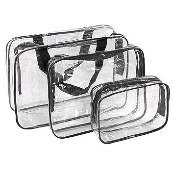 79740746c Bolsas de Aseo Transparente Neceser PVC Impermeable Mujer Bolsa de Cosmético  Organizador de Viaje 3 Pcs: Amazon.es: Equipaje