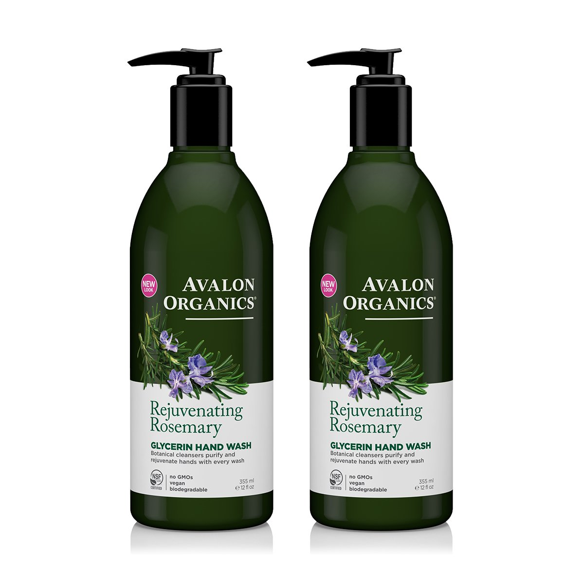 Avalon Organics Glycerin Hand Soap Rosemary With Organic Rosemary Essential Oil, Panthenol, Organic Aloe and Vitamin E, 12 fl oz (355 ml) (Pack of 2)