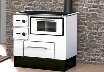 Stufa a Legna Cucina con Forno Acciaio 5,0-6,3 KW Piastra Portalegna ...