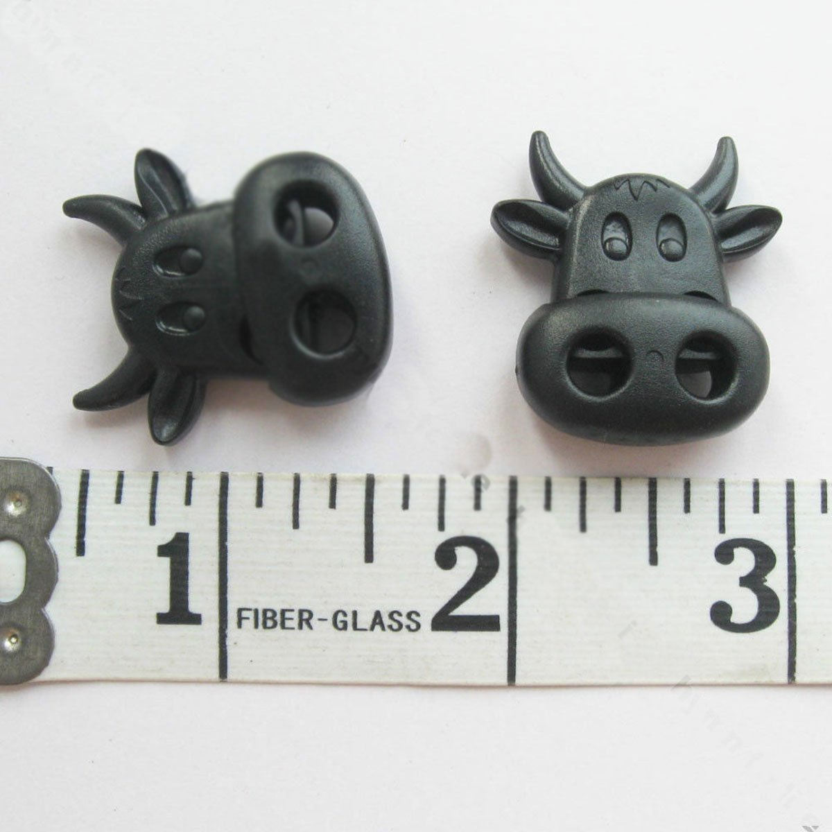 pawong Novelty Cow Twin Hole Toggles Cord Locks Rope stoppers, 50 pcs Black plastic pawong crafts ok png23