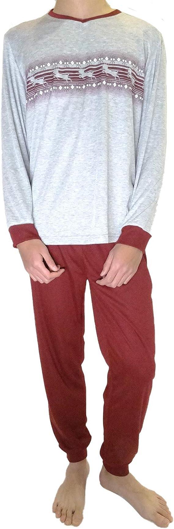Mini kitten Pijama de Caballero Hombre de Algodon Fino Manga Larga con Pantalon Largo y de Cuello Pico//Ropa para Dormir de Hombre