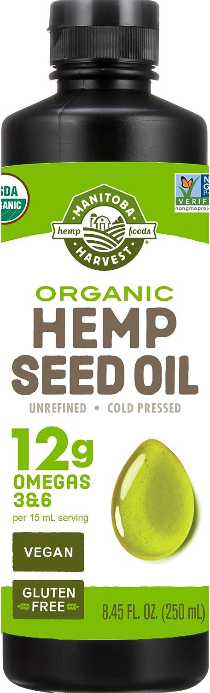 Manitoba Harvest Organic Hemp Oil, Cold Pressed, 12g of Omegas 3&6 Per Serving, Non-GMO, 8 Fl Oz