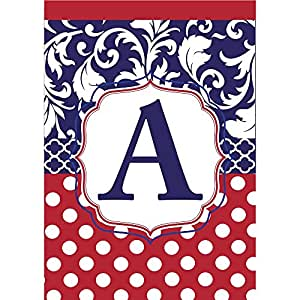 Monogram A Red White Polka Dot and Filigree Blue 18 x 13 Rectangular Applique Small Garden Flag