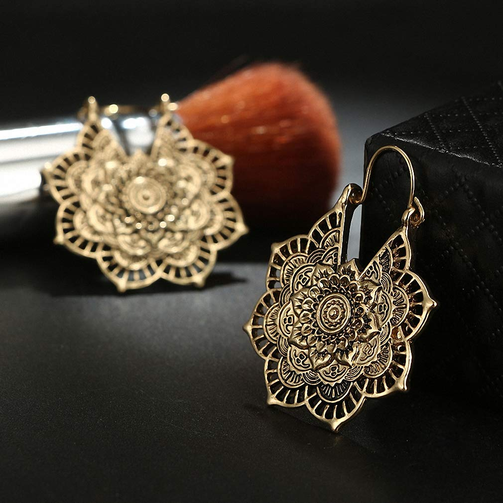 Womens Dangle Earrings Vintage Mandala Flower Drop Dangle Earring for Women Girl Tribal Hollow Floral Pendant Earrings Pendientes 5123
