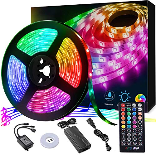 LED Strip Light, 16.4 ft Waterproof Music RGB 5050 Led Rope Lights Color Changing LED Light Strip Kit with Remote… 1