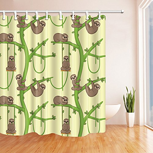 NYMB Animal Decor Cartoon Sloth on the Tree Shower Curtain in Bath 69X70 inches Mildew Resistant Polyester Fabric Bathroom Fantastic Decorations Bath Curtains Hooks Included (Multi2) by NYMB