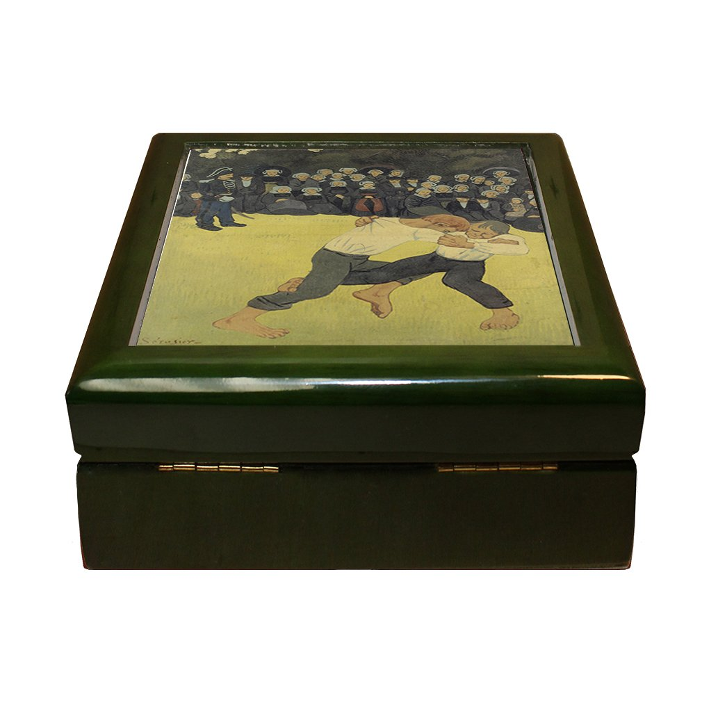 Style in Print Breton Wrestling (Paul Serusier) 4''x4'' Jewelry Box Ceramic Tile Green Frame by Style in Print