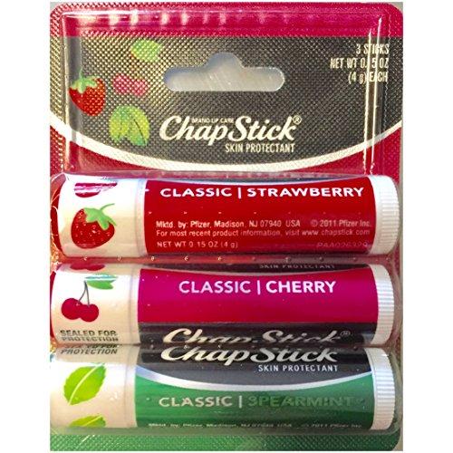 ChapStick Classic Lip Balm SPF 4, Variety Pack, Cherry, Strawberry & Spearmint, 3 ea - 2pc